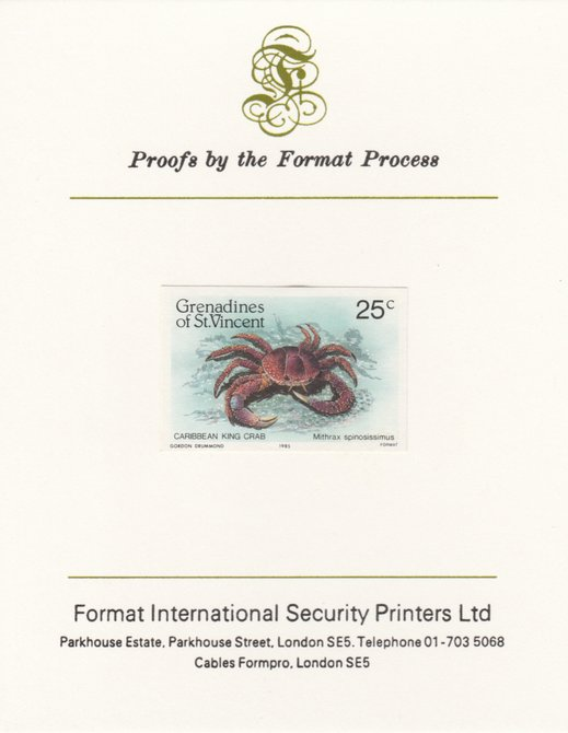 St Vincent - Grenadines 1985 Shell Fish 25c King Crab as SG 360, imperf proof mounted on Format International proof card
