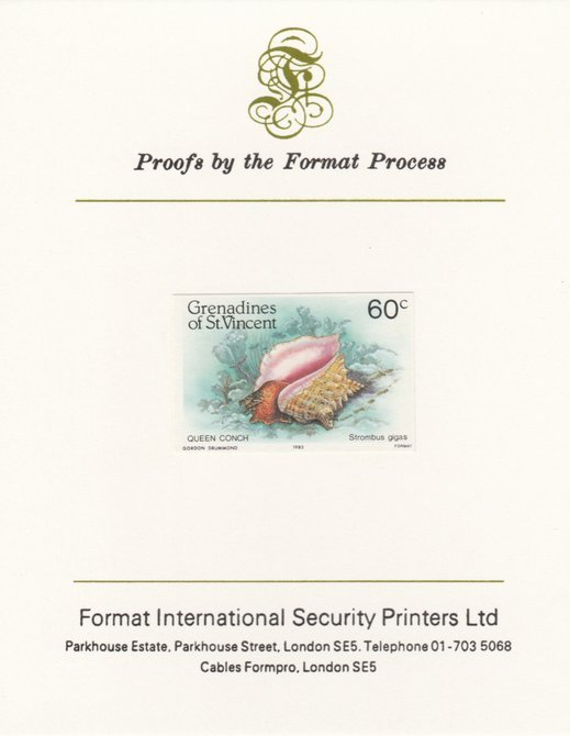St Vincent - Grenadines 1985 Shell Fish 60c Queen Conch as SG 361, imperf proof mounted on Format International proof card