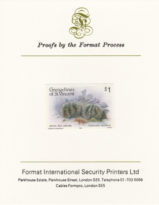 St Vincent - Grenadines 1985 Shell Fish $1 Sea Urchin as SG 362, imperf proof mounted on Format International proof card