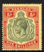 Bermuda 1918-22 KG5 MCA 5s with break in Crown & Scroll lightly mounted mint, centred to left but good perfs and beautiful colour, SG53db
