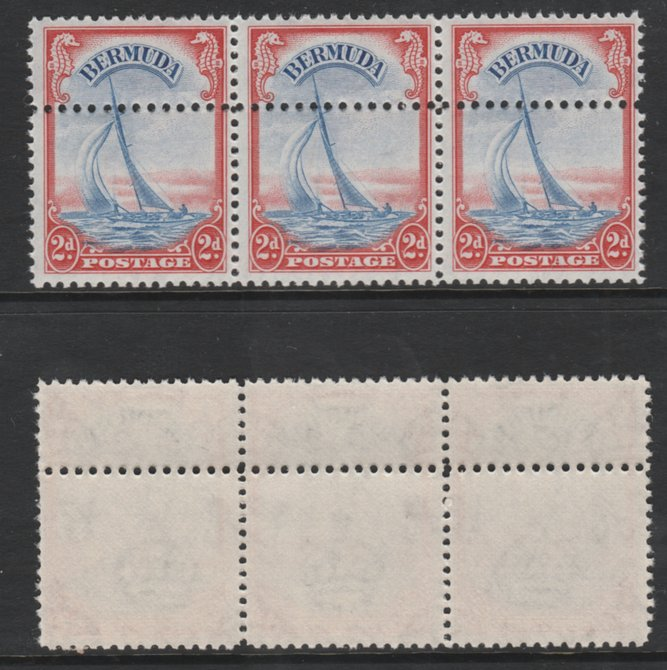 Bermuda 1938-52 KG6 Yacht 2d ultramarine & scarlet (SG 112a) unmounted mint strip of 3 with additional row of horiz perfs. Note: the stamps are genuine but the additional...