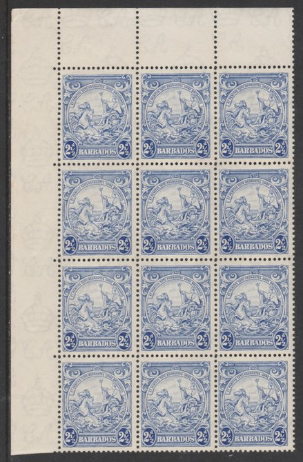 Barbados 1938-47 Badge of Colony 2.5d ultramarine NW corner block with variety
