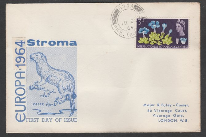 Stroma 1964 Europa cover to London bearing Botanical 3d stamp cancelled Huna cds being the correct rate for UK delivery. Note: I have several of these covers so the one y...