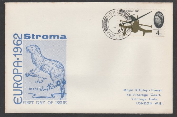 Stroma 1962 Europa cover to London bearing BoB 4d stamp cancelled Huna cds being the correct rate for UK delivery. Note: I have several of these covers so the one you rec...