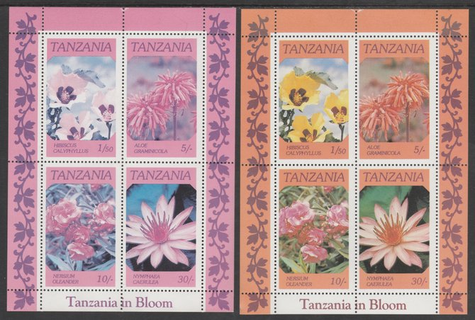 Tanzania 1986 Flowers perf m/sheet with yellow omitted plus normal, both unmounted mint (as SG MS 478)