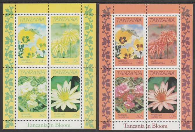 Tanzania 1986 Flowers perf m/sheet with red omitted plus normal, both unmounted mint (as SG MS 478), stamps on flowers