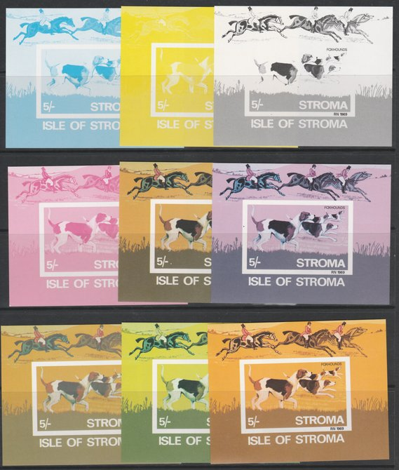 Stroma 1969 Dogs - Foxhounds 5s m/sheet - the set of 9 imperf progressive proofs comprising the 4 individual colours, four 3-colour composite plus all 4 colours, unmounte...