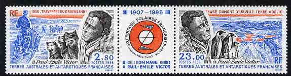 French Southern & Antarctic Territories 1996 Paul-Emile Victor commemoration se-tenant strip with label between, unmounted mint, SG 351-52
