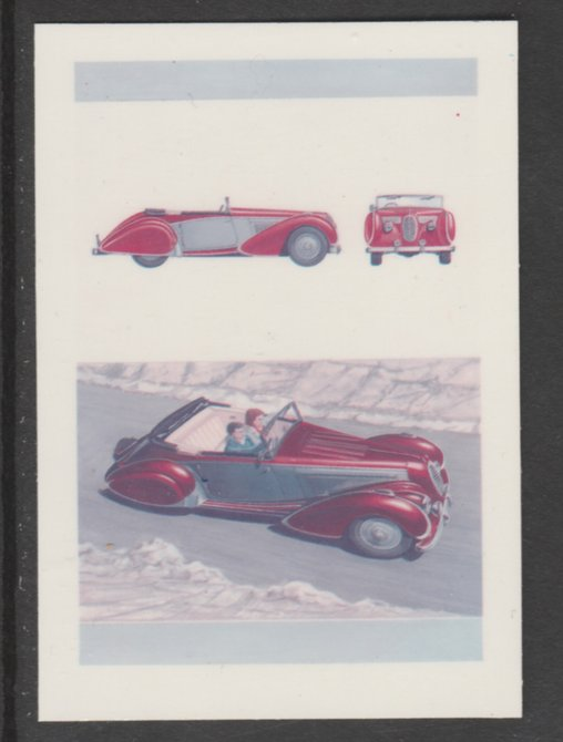 Bernera 1984 Cars - 1938 Talbot-Lago 10p se-tenant die proof pairs in 1) magenta & blue and 2) full 4-colours each on plastic card (Cromalin) rare items ex Format International archives
