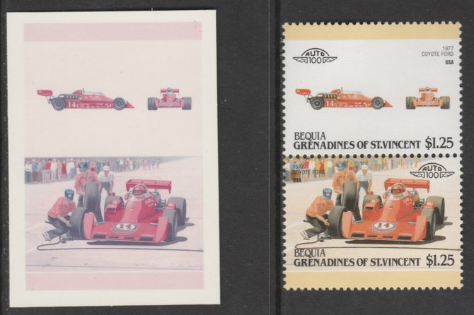 St Vincent - Bequia 1987 Cars #7 Coyote Ford $1.25 - Cromalin se-tenant die proof pair in red and blue only (missing Country name, inscription & value) ex Format International archives complete with issued stamp