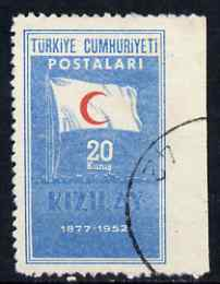Turkey 1952 Red Crescent 20k used single imperf between stamp & margin