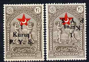 Turkey 1938 Red Crescent Postal Tax 1k on 2.5k unmounted mint single with opt inverted (unlisted by SG) plus single with superb off-set on back as normal.