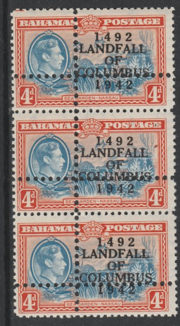 Bahamas 1942 KG6 Landfall of Columbus 4d blue & orange (Sea Garden) unmounted mint vert strip od 3 with perforations doubled (stamps are quartered) Note: the stamps are genuine but the additional perfs are a slightly different gauge identifying it to be a forgery.