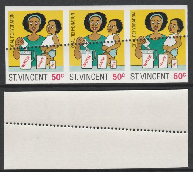 St Vincent 1987 Child Health 50c (as SG 1050) unmounted mint imperf strip of 3 with stray horizontal row of perfs applied obliquely