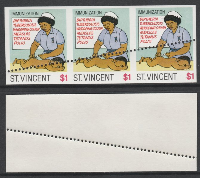 St Vincent 1987 Child Health $1 (as SG 1052) unmounted mint imperf strip of 3 with stray horizontal row of perfs applied obliquely