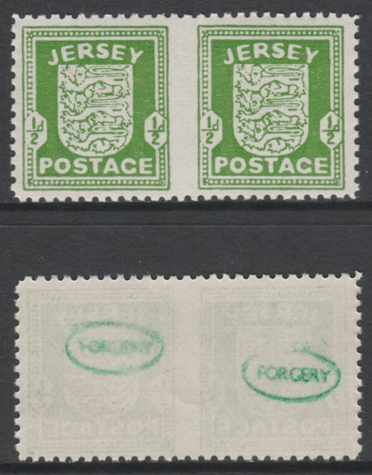 Jersey 1941-43 Arms 1/2d green horizontal pair imperf between unmounted mint as SG1b. Note the stamps are probable reprints but the perforations are the wrong gauge identifying the item as a forgery and has been so marked on the gummed side (original imperf between cat \A3800)