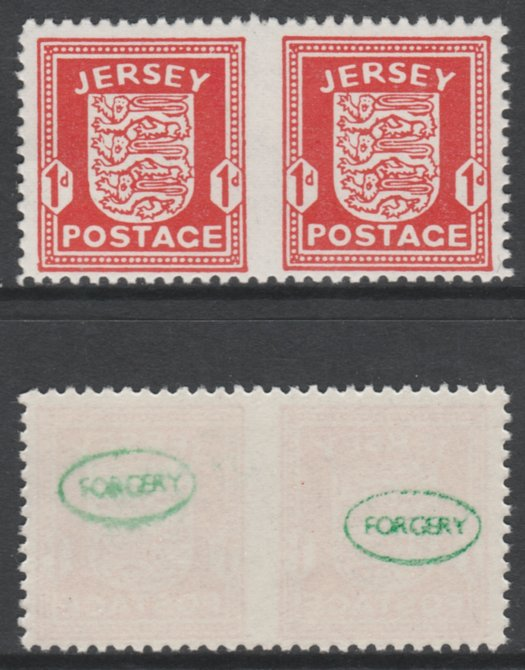 Jersey 1941-43 Arms 1d scarlet horizontal pair imperf between unmounted mint as SG2b. Note the stamps are probable reprints but the perforations are the wrong gauge identifying the item as a forgery and has been so marked on the gummed side (original imperf between cat \A3800)