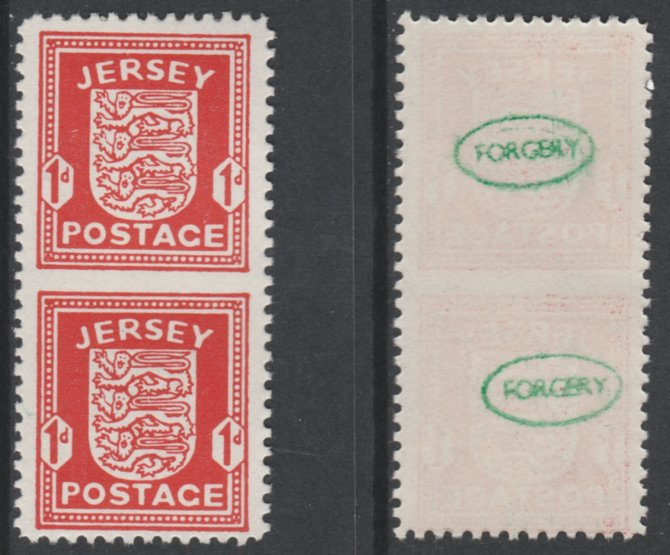 Jersey 1941-43 Arms 1d scarlet vertical pair imperf between unmounted mint as SG2a. Note the stamps are probable reprints but the perforations are the wrong gauge identifying the item as a forgery and has been so marked on the gummed side (original imperf between cat \A3900)