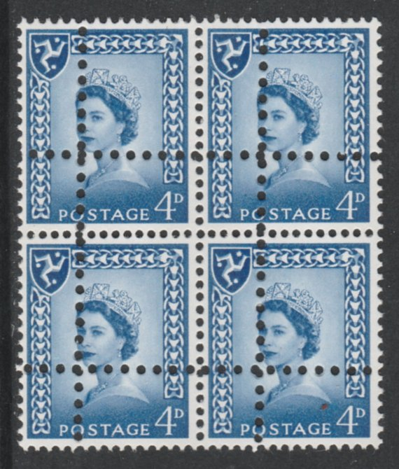 Isle of Man 1967 Regional 4d ultramarine (2 phos bands) block of 4 with perforations doubled (stamps are quartered) an attractive and interesting modern forgery, unmounted mint, SG3pvar. Note: the stamps are genuine but the additional perfs are a slightly different gauge identifying it to be a forgery.