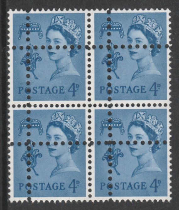 Jersey 1967 Regional 4d ultramarine (2 phos bands) block of 4 with perforations doubled (stamps are quartered) an attractive and interesting modern forgery, unmounted mint, SG11pvar. Note: the stamps are genuine but the additional perfs are a slightly different gauge identifying it to be a forgery.