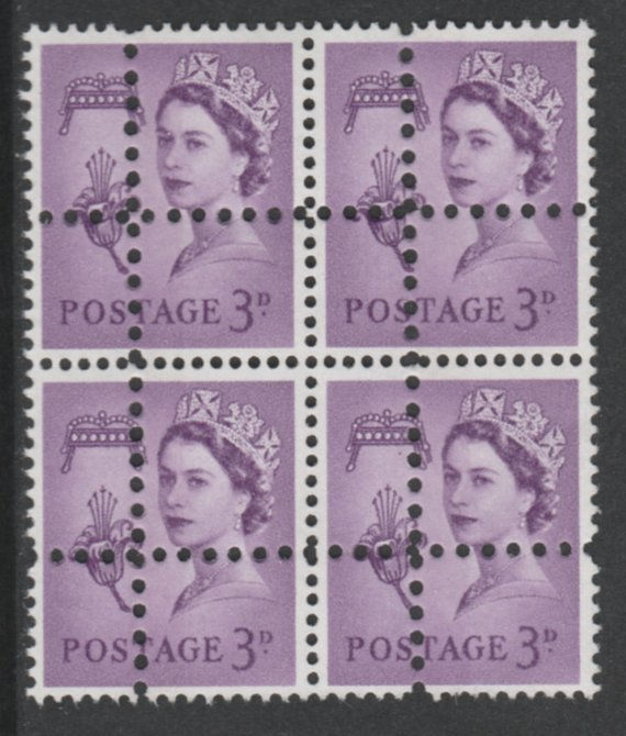 Jersey 1967 Regional 3d deep lilac (centre phos band) block of 4 with perforations doubled (stamps are quartered) an attractive and interesting modern forgery, unmounted mint, SG10pvar. Note: the stamps are genuine but the additional perfs are a slightly different gauge identifying it to be a forgery.