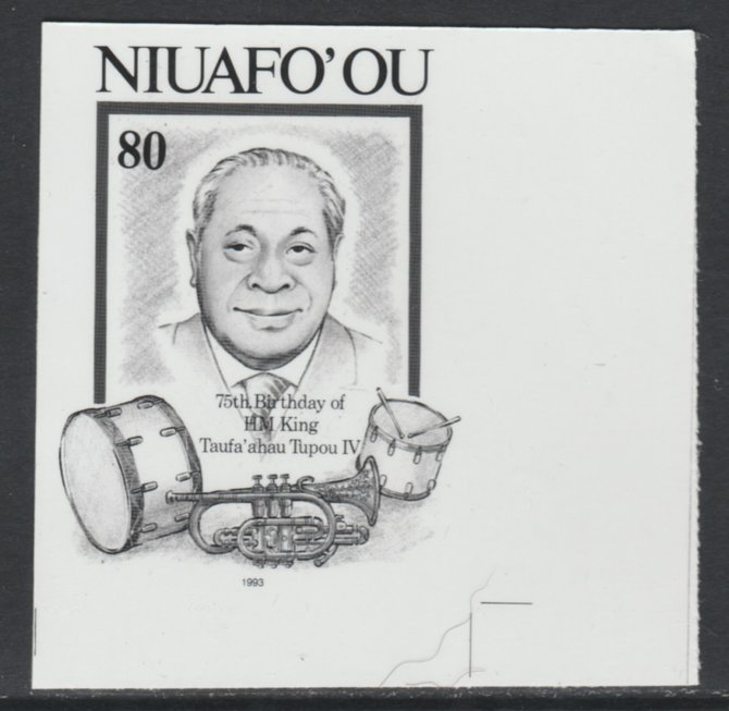 Tonga - Niuafo'ou 1993 King & Musical Instruments 80p (from 75th Birthday set) B&W photographic Proof as SG 191, stamps on