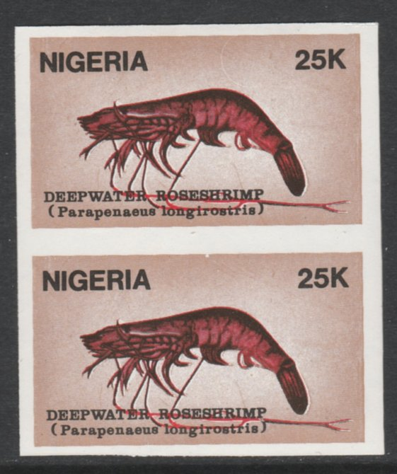 Nigeria 1988 Shrimps 25k Deepwater Roseshrimp imperf pair unmounted mint SG 562var