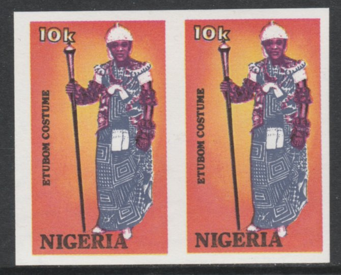 Nigeria 1989 Traditional Costumes 10k Etubon imperf pair unmounted mint SG 582var