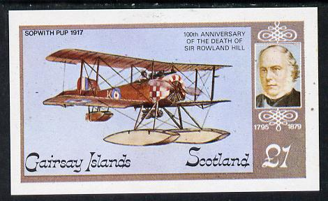 Gairsay 1979 Sopwith Pup (Rowland Hill) imperf souvenir sheet (�1 value) unmounted mint