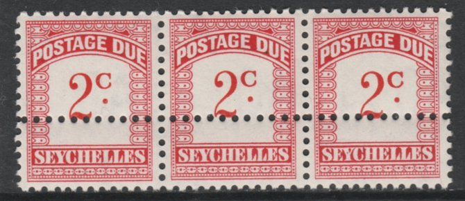 Seychelles 1964-65 Postage Due 2c red & carmine wmk Block CA strip of 3 with additional row of horizontal perfs, unmounted mint, SG D9. Note: the stamps are genuine but t...