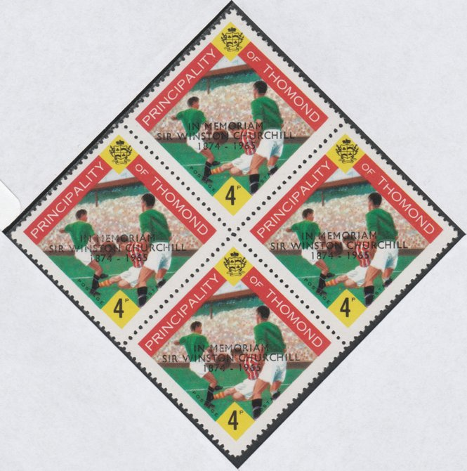 Thomond 1965 Football 4d (Diamond shaped) with 'Sir Winston Churchill - In Memorium' overprint in black unmounted mint block of 4, slight off-set from overprint on gummed side
