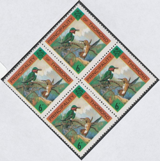 Thomond 1965 Humming Birds 6d (Diamond-shaped) with 'Sir Winston Churchill - In Memorium' overprint in gold unmounted mint block of 4, slight off-set from overprint on gummed side
