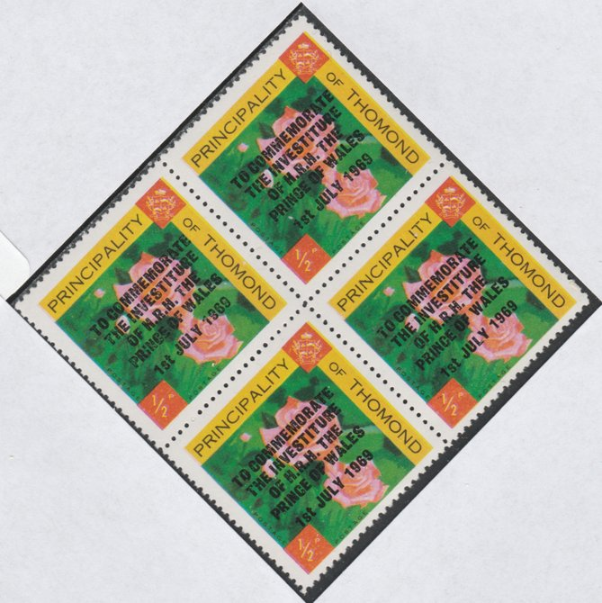 Thomond 1969 Roses 1/2d (Diamond shaped) opt'd 'Investiture of Prince of Wales', unmounted mint block of 4, slight off-set from overprint on gummed side