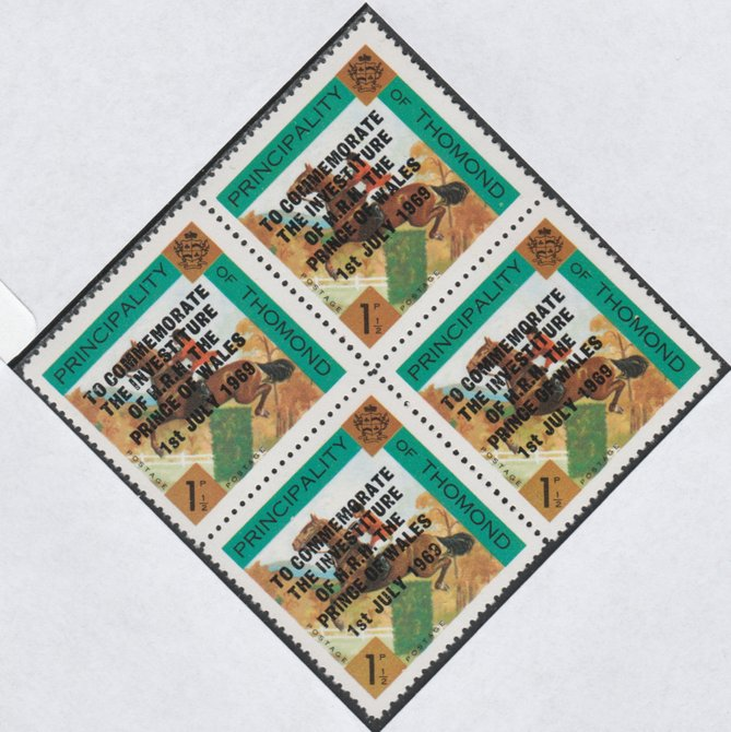 Thomond 1969 Show jumping 1.5d (Diamond shaped) opt'd 'Investiture of Prince of Wales', unmounted mint block of 4, slight off-set from overprint on gummed side