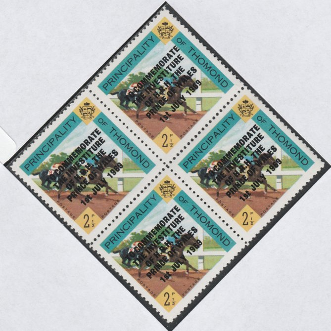 Thomond 1969 Horse Racing 2.5d (Diamond shaped) opt'd 'Investiture of Prince of Wales', unmounted mint block of 4, slight off-set from overprint on gummed side
