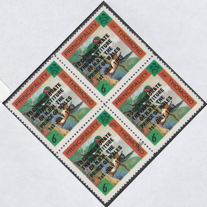 Thomond 1969 Humming Birds 6d (Diamond shaped) opt'd 'Investiture of Prince of Wales', unmounted mint block of 4, slight off-set from overprint on gummed side
