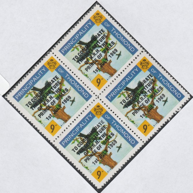 Thomond 1969 Martin 9d (Diamond shaped) opt'd 'Investiture of Prince of Wales', unmounted mint block of 4, slight off-set from overprint on gummed side