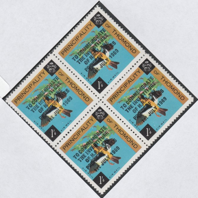 Thomond 1969 Birds 1s6d (Diamond shaped) opt'd 'Investiture of Prince of Wales', unmounted mint block of 4, slight off-set from overprint on gummed side