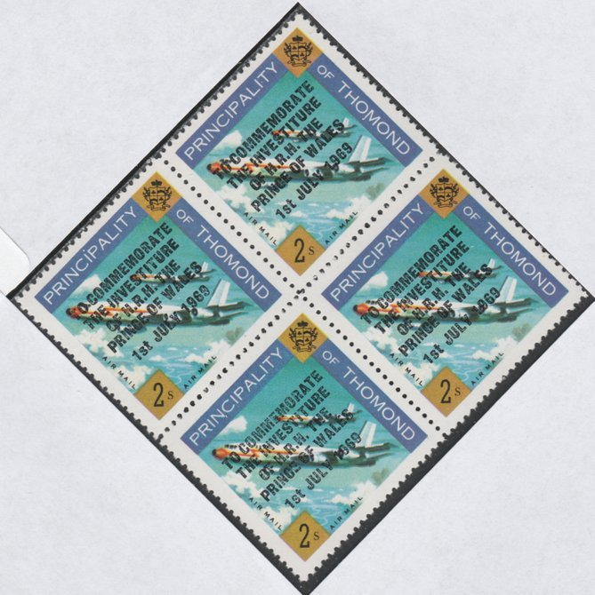 Thomond 1969 Jet Liner 2s (Diamond shaped) opt'd 'Investiture of Prince of Wales', unmounted mint block of 4, slight off-set from overprint on gummed side