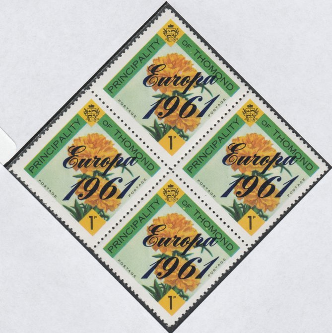 Thomond 1961 Carnation 1d (Diamond-shaped) with 'Europa 1961' overprint unmounted mint block of 4, slight off-set from overprint on gummed side