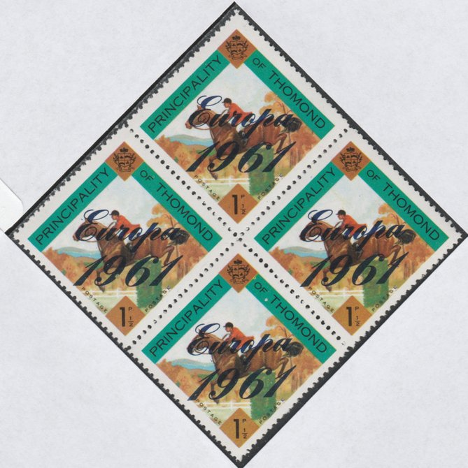 Thomond 1961 Show jumping 1.5d (Diamond-shaped) with 'Europa 1961' overprint unmounted mint block of 4, slight off-set from overprint on gummed side