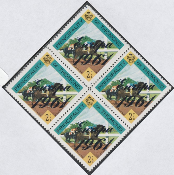 Thomond 1961 Horse Racing 2.5d (Diamond-shaped) with 'Europa 1961' overprint unmounted mint block of 4, slight off-set from overprint on gummed side