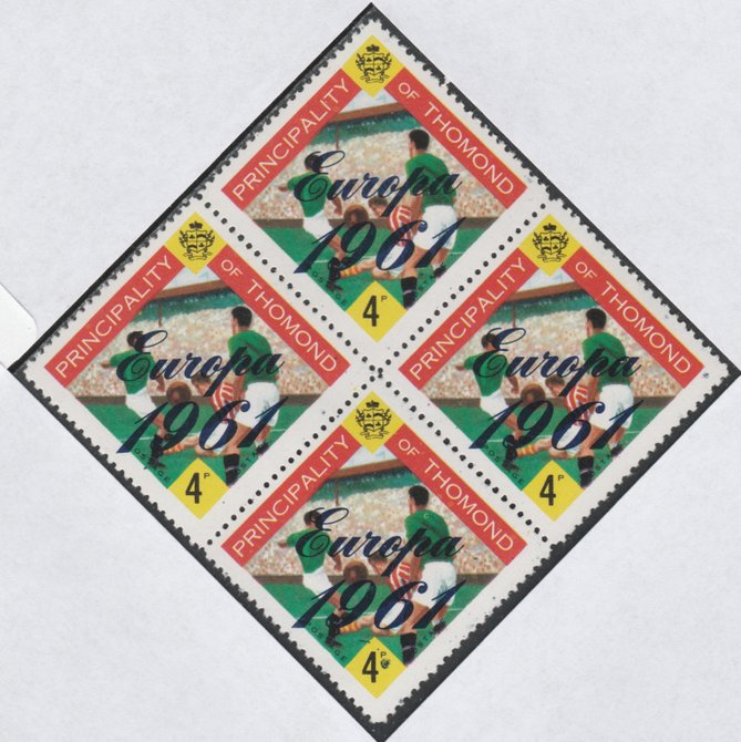 Thomond 1961 Football 4d (Diamond shaped) with 'Europa 1961' overprint unmounted mint block of 4, slight off-set from overprint on gummed side