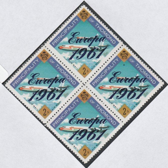 Thomond 1961 Jet Liner 2s (Diamond shaped) with 'Europa 1961' overprint unmounted mint block of 4, slight off-set from overprint on gummed side