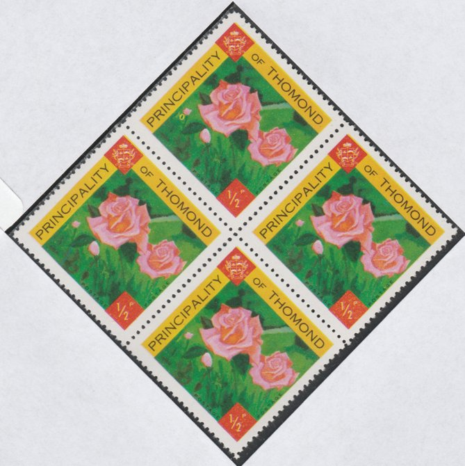 Thomond 1960 Roses 1/2p (Diamond shaped) def unmounted mint block of 4