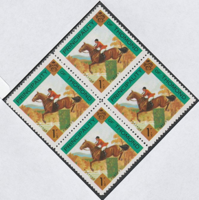 Thomond 1960 Show jumping 1.5d (Diamond-shaped) def unmounted mint block of 4, stamps on horses, stamps on sport