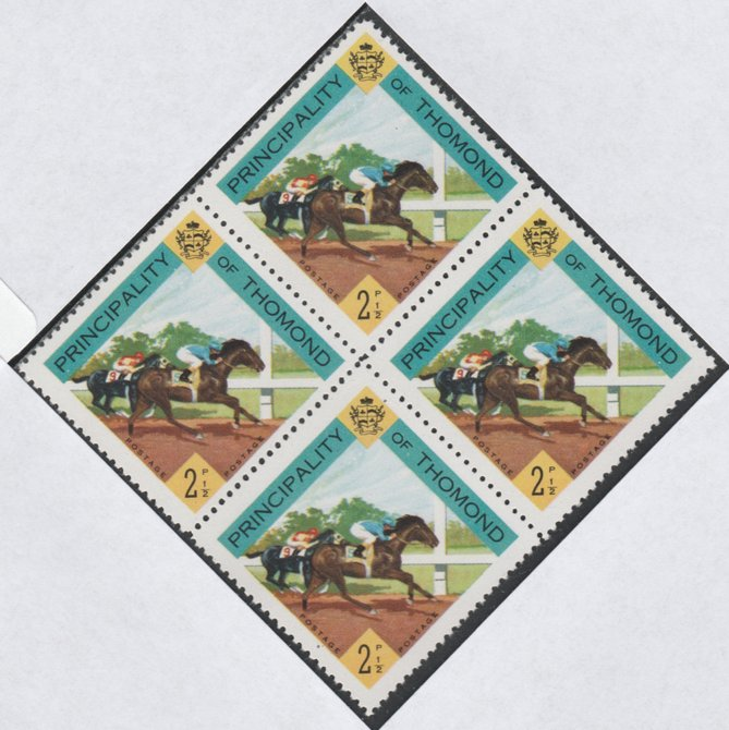 Thomond 1960 Horse Racing 2.5d (Diamond-shaped) def unmounted mint block of 4