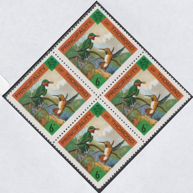 Thomond 1960 Humming Birds 6d (Diamond-shaped) def unmounted mint block of 4