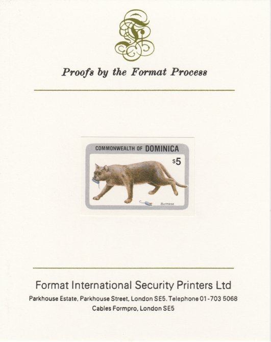 Dominica 1984 Cats $5 (Burmese) imperf proof mounted on Format International proof card as SG 921