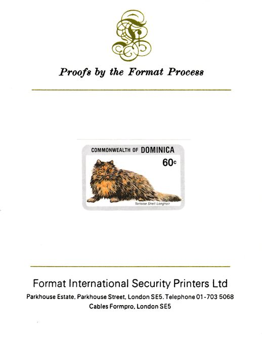 Dominica 1984 Cats 60c (Tortoiseshell Longhair) imperf proof mounted on Format International proof card as SG 917
